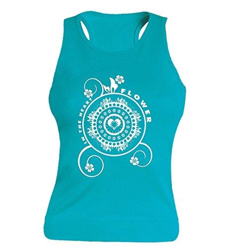 """T-shirt Femme 100% Coton - """"Mandala In the heart flower"""" - Sans Manches Bleu"""