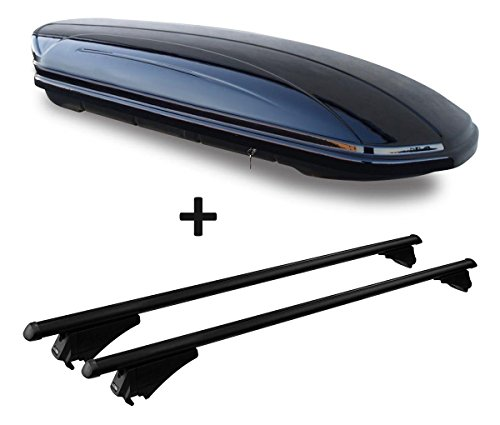 VDP Dachbox schwarz glänzend MAA 580 Auto Dachkoffer 580 Liter abschließbar + Alu-Relingträger Dachgepäckträger für aufliegende Reling im Set für Audi A6 4G Avant ab 2011