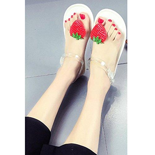 Erdbeeren und Zitrone Dekorierte Summer Beach Sandalen, Kaiki Frauen Frucht Flip Flops Sandalen Schuhe Mädchen Teller Flip Flop Strand Sandalen White S