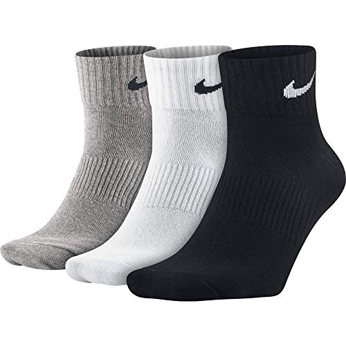 NIKE Socken Lightweight Quarter 3er Pack, grau/schwarz/weiß, 38-42 M, SX4706 -