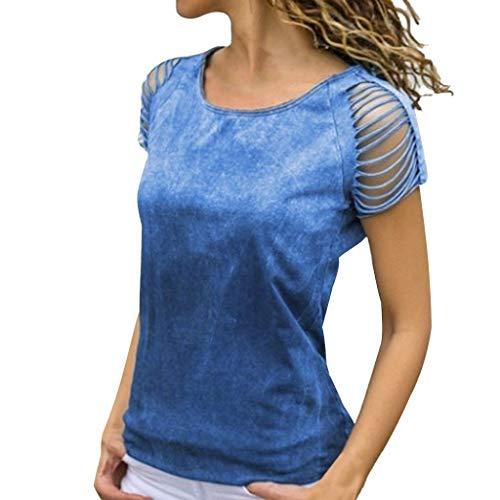 MRULIC Damen Kurzarm T-Shirt Rundhals Ausschnitt Lose Hemd Pullover Sweatshirt Oberteil Tops - Corvette Sweat-shirt