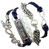 Armband Unendlichkeit Love, Believe und Engelsflügel mit einer Perle Blau Weiß / Infinity / besser Lederband / anhänger / One Direction