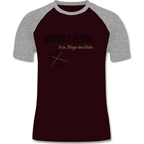 Statement Shirts - Wahres Glück ist ein Morgen ohne Wecker - zweifarbiges Baseballshirt für Männer Burgundrot/Grau meliert