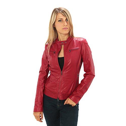 """Giubbino da donna in pelle con colletto """"motociclista"""" vestibilità slim-fit Made in Italy Rosso"""