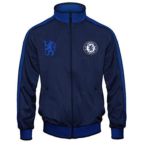 FC Chelsea Herren Retro-Trainingsjacke mit Reißverschluss - Geschenk - 100% Polyester - Dunkelblau - M