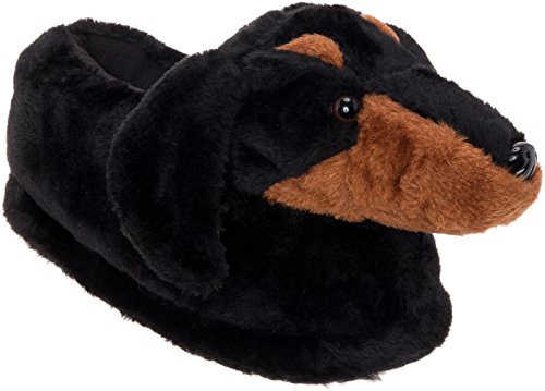 Silver Lilly Dachshund Slippers - Plush Dog Slippers w/Platform