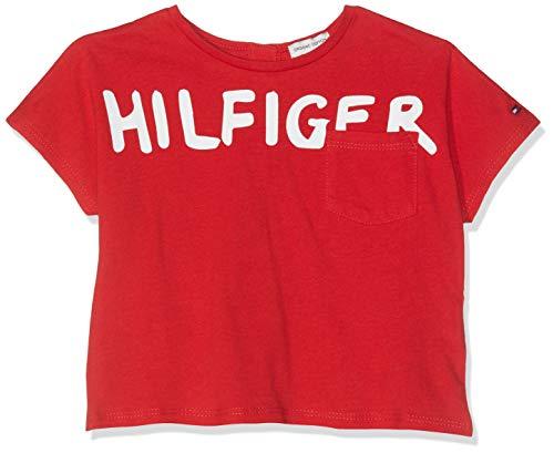 Tommy Hilfiger Baby-Mädchen Bold Text Grown ON S/S Tee T-Shirt, Rot (True Red 635), Herstellergröße: 92 -