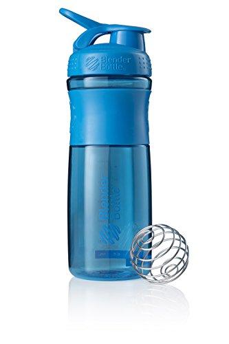 BlenderBottle Sportmixer Tritan Trinkflasche mit BlenderBall, geeignet als Protein Shaker, Eiweißshaker, Wasserflasche oder für Fitness Shakes, BPA frei, skaliert bis 760 ml, 820 ml, cyan blau