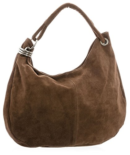 Big Handbag Shop - Borsa a spalla da donna, grande, in vera pelle scamosciata italiana Dark Tan (BH352)