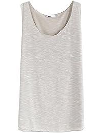 Camiseta Sin Mangas Cuello Redondo Relaxed Casual Top De Largo Para Mujer Beige
