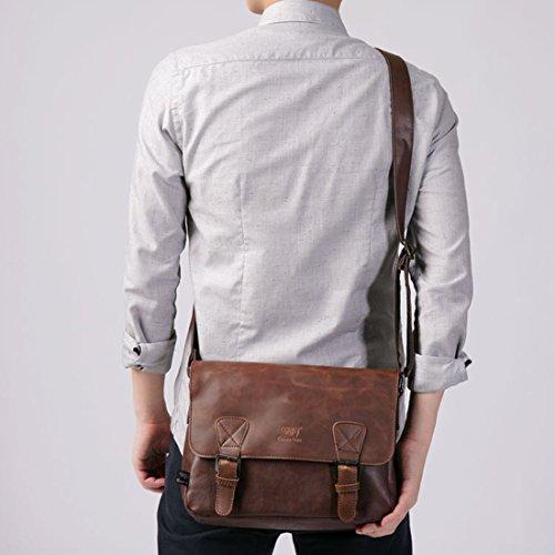 Schultertasche, Foxom Vintage PU-Leder Umhängetasche Messenger Bag für Arbeit Reise Freizeit