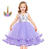elebaby® Baby Girls Unicorn Fancy Dress Costume Kids Wedding Birthday Party Dresses Princess Tulle Tutu Skirt Outfit Children Prom Ball Gown with Unicorn Headband 2-12Y