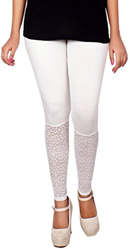 Miss U Women\'s High Quality Stretchable Free Size Net Cotton Lycra Blend White legging Free Size Medium Waist