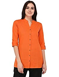 "Vastraa Fusion"" Branded Cotton Flex Short Kurti Top for Girls/Women - Available in Multiple Colour and Size Options (up to 5XL)"