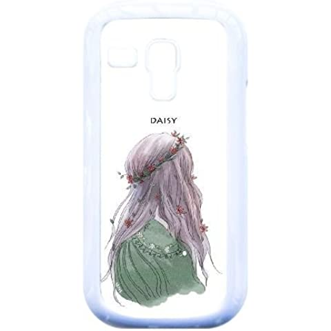 Samsung Galaxy S3 Mini i8190 Case,Beautiful Girl Wearing Garland [DAISY] Durable Hard Plastic Scratch-Proof Protective Case,White
