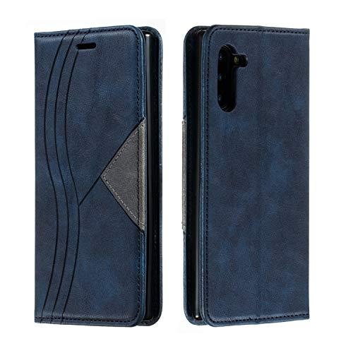 Huphant Compatible for Handyhülle Samsung Galaxy Note 10+ Plus Hülle Leder Geschäft Einfarbig Brieftasche Klapphülle Kartenfächer Flip Case for Samsung Galaxy Note 10+ Plus SchutzHülle Magnet-Blau