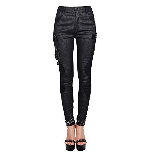 Devil Fashion Gothic Steampunk De Las Mujeres Patchwork de Ajuste Delgado Costura L¨piz Leggings Paquete PiernasPantalones Pantalones Flacos,L