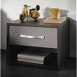 Abitti Mesita de Noche de 1 cajón y 1 nicho Color Roble Vulcano y basalto para Dormitorio de diseño y Acabado Elegante y Moderno. 40x30x36cm