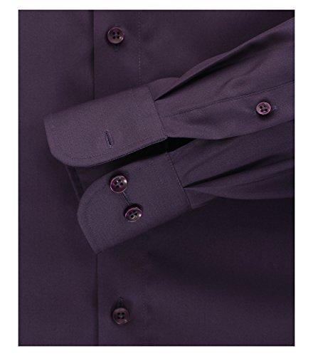 CASAMODA Herren Slim Fit Business Hemd 006550 Aubergine