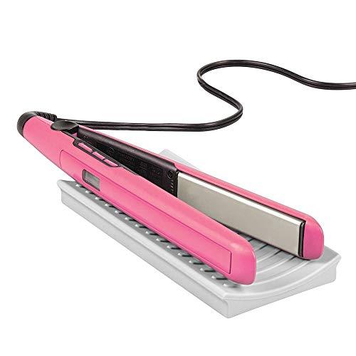 mDesign Matte aus Silikon für Lockenstab und Glätteisen - praktische Auflage für den Waschtisch - schützende Ablage für erhitzte Haarstyling-Geräte - hellgrau