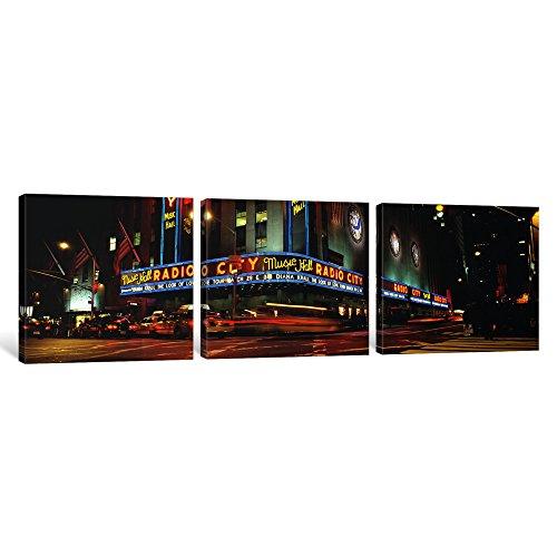 iCanvasART 3Stück, Manhattan, Radio City Music Hall, NYC, New York City, New York State, USA Kunstdruck auf Leinwand, Panorama Bilder, 91,4x 30,5cm/1,9cm Tiefe - Radio City Music Hall Manhattan