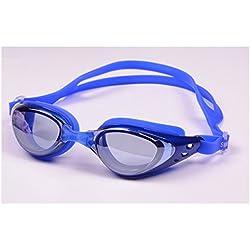 Schwimmbrille, Schwimmbrille Kein auslaufender Anti-Nebel UV-Schutz Triathlon Schwimmbrille mit freiem Schutzhülle für Menschen blau