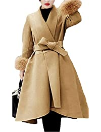 Mujer Chaqueta Talla Grande Largos Abrigos Espesar Caliente Modernas Casual  Manga Larga Outerwear Parkas Invierno Abrigo Lana con… af32a2d48b08