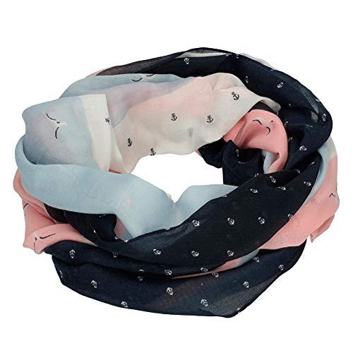 Tom Tailor Denim (NOS) Damen Trilby Loop mit femininen Punkte Muster Blau (Blue White Print Mix 15775) One Size (Herstellergröße: Oversize)