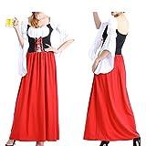 Ocamo Kleid Trompete Ärmel Deutsch Oktoberfest Large Size Retro Kleid Halloween Maid Uniform red M