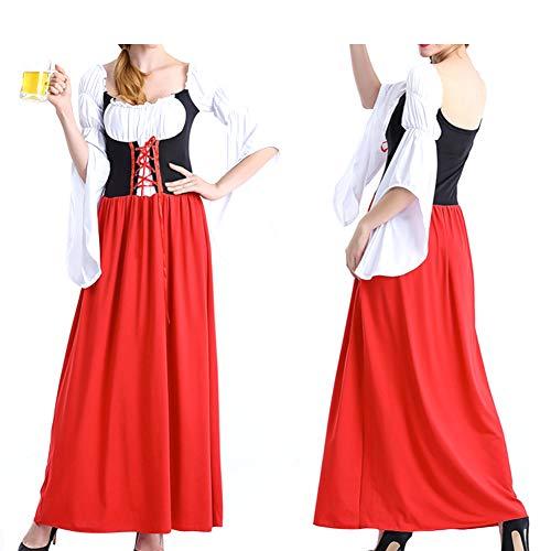 Soubrette Kostüm - RONSHIN Dirndl Weibliche Magd Cosplay Kleid Kostüm Retro Mandarin Ärmel langes Kleid für Halloween Oktoberfest Rot XL