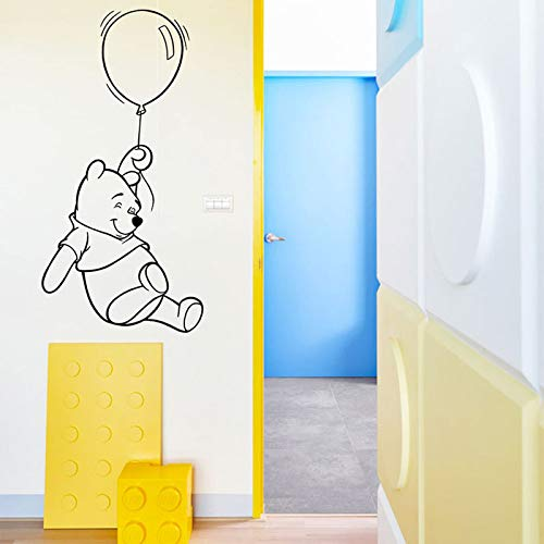 wukongsun Bärenjunges mit Ballon Wandtattoo Kind Junge Mädchen Schlafzimmer Baby Kindergarten Wandtattoo Cartoon Deko Wandbild schwarz 57x114 cm