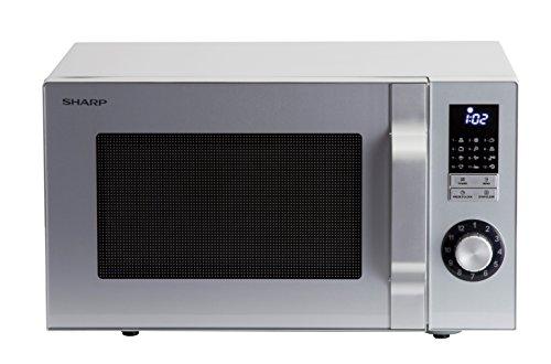 SHARP R344S Solo-Kompakt-Mikrowelle / 900 W / 25 L / LED-Display / Zeitschaltuhr von 99 Minuten bis 50 Sekunden / 12 Automatikprogramme / Gewicht und zeitgesteuertes Auftauen / Edelstahl