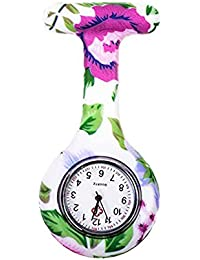 naisicatar reloj de enfermera broche Fob des infirmieres Túnica Unisex Doctor Enfermera Flor Broche colgante de bolsillo reloj de cuarzo de bolsillo con clip # Flor y Hoja # X 1