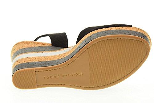 TOMMY HILFIGER scarpe donna sandali zeppa FW0FW00858 990 INT E1285STELLE 38C Nero