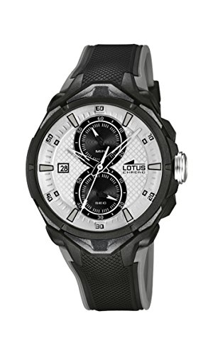 Lotus Men's Quartz Watch with Silver Dial Chronograph Display and Black Rubber Strap 18107/1