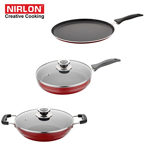 NIRLON Kitchen Non Stick Cookware Sets Combo Offer Heavy Thick Body Cooking Dosa Tawas, Frying Pan and Kadhai Premium Quality Utensils - non sticky PTFE PFOA Free Coating with best Performance Multipurpose Round Chef Pots & Pans set