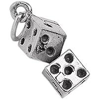Ciondolo in argento Sterling a forma di coppia di dadi da gioco