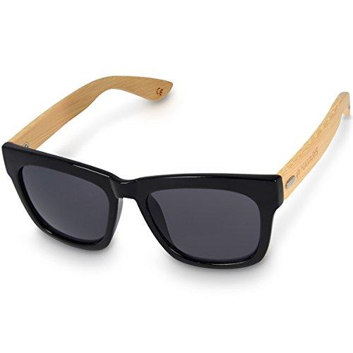 Navaris Gafas de sol UV400 - Gafas de madera para hombre y mujer - Lentes de bambú unisex y funda - Gafas diferentes colores - Color negro