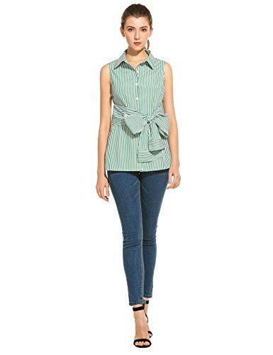 cooshional Damen Streifen Bluse Casual slim fit Ärmellos mit Gürtel T-shirt Oberteile Grün
