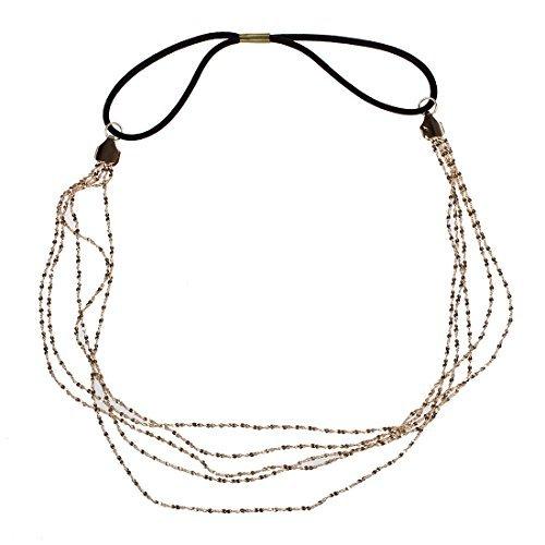 SODIAL(R) Chaines Or en alliage Gland Couvre-chef bandeau elastique serre-tete