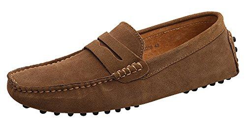 Yaer classic scarpe da uomo mocassini slip on penny loafers (cammello eu41)