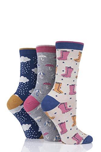Thought Damen Regnerischer Tag Bambus und Bio-Baumwolle Socken Packung mit 3 Mehrfarbig 37-40