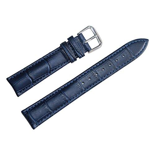 16mm dunkelblau Leder Armband Riemen Ersatz echte Kalbsleder Krokodil der Frauen geprägt