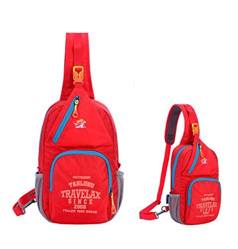 Jaimelavie Schleuder Tasche Chest Pack Umhängetasche für Outdoor Sportarten Reisen nylon fabric multied-colored Rot