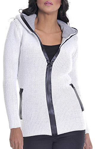 LEIF NELSON Damen Strick-Jacke | Frauen Hoodie Kapuze | Damen Freizeitjacke Sweatjacke | Das Beste in Kleidung Frauen LN10230 | Größe M, Ecru-Grau