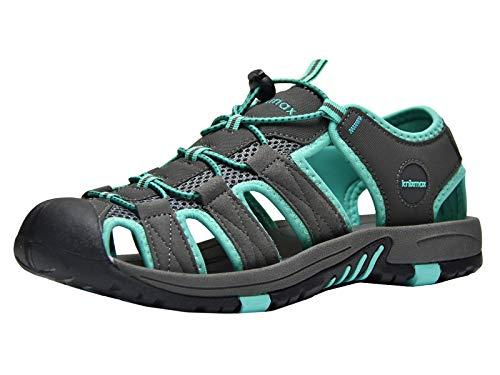 Walking Sandalen (Knixmax Sandal Trekking Wandersandalen Damen Herren rutschfeste Comfort Wanderschuhe Sommer Männer Women Walking Schuhe Sport-& Outdoor Sandalen EU44-(UK 10) Dark Grey)