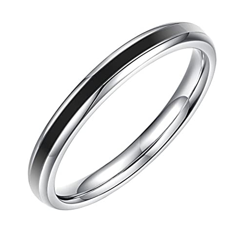 HIJONES Womens Stainless Steel 2mm Thin Band Ring Simple Style Polish Plain Black Size K