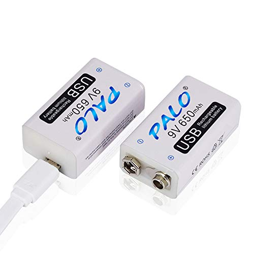 Palo USB 9v 650mAh Batería Recargable de Ion de Litio con Cable USB para Alarma de Humo de micrófono de Teclado (Paquete de 2 baterías USB y 1 Cable)