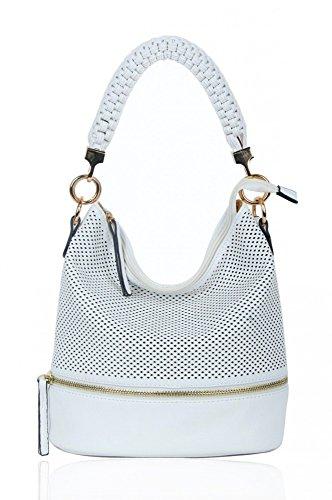 LeahWard® Damen Mode Stil Handtaschen Kunstleder Schultertasche Tragetaschen Zum Damen CW150906 (Weiß/Sahne) (Weiß Chloe Handtasche)