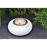 Lattoo Handmade White Marble And Brass Round Shape Decorative Tealight Candle Holder For Home Décor | White